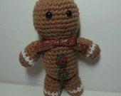 Crocheted Stuffed Gingerbread Boy Man, Christmas Amigurumi, Holiday Plush, Stocking Stuffer Gift under 15, Handmade Brown Gingerbread Accent