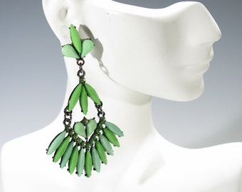 Earrings - Three Colored Green Dangle Long and Large Earrings with Rhinestones - Pierced Cushion Backings
