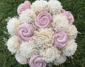 Handmade Natural Balsa Wood Flower Wedding Bouquet---Ivory and Blush Pink Sola Flower Medium Size Bouquet