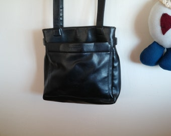 Designer Evan-Picone Black Leather Handbag Shoulder Strap