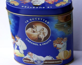 SALE Vintage French Tin Box Metal Blue Candy Caramel Pierrot Gourmand Home Decor
