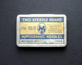 Vintage Tin Box Metal Small Trinket Needle Case