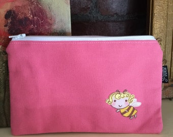 Zippered Pouch - Pink with bee applique