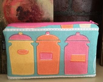 Zippered pouch- Kitchen Jars
