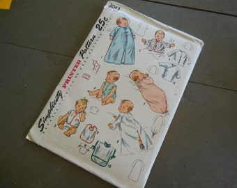 Vintage 1950s Simplicity Baby Pattern, NEW Unused #3043 One Size
