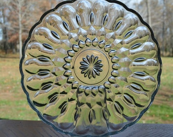 """Pressed Glass Serving Plate - 10"""""""