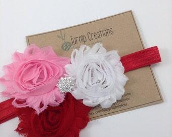 Valentines Headband Red Headband Pink Headband Shabby Flower Headband White Headband