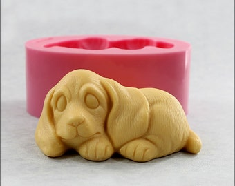 Puppy Dog Soap Mold, Chocolate Mold, Wax, Candy (504)