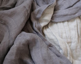 LINEN Fabric - DOUBLE face with softening-Gray  and natural gray color