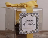 8 - Wedding Favor Cupcake Boxes - West Design - ANY COLOR - wedding favors, party favors, wedding cupcake box, personalized cupcake box