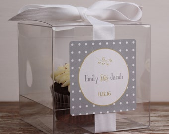 8 - Wedding Favor Boxes / Cupcake Boxes - Rustic Dot Label - ANY COLOR - wedding favors, personalized cupcake box, wedding cupcake box