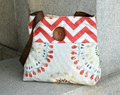 Handcrafted Messenger style crossbody bag.  adjustable strap & button. CORAL CHEVRON for SPRING