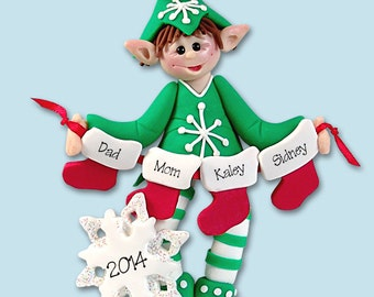 Elf with Stockings Family of 4 HANDMADE Polymer Clay Personalized Christmas Ornament