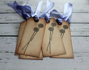 Vintage Inspired Tags - Alliums - Set of 5