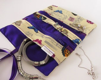 Jewelry Wrap, Gift for Her, Jewellery Organizer Case, Christmas Gift, Uk Seller, Butterfly, Vintage, Purple, make up case, gifts under 25