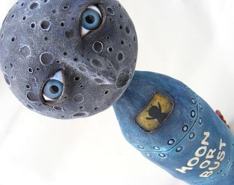 Moon or Bust - Mixed Media Art Doll Sculpture - Man on the Moon - Le Voyage Dans la Lune - OOAK