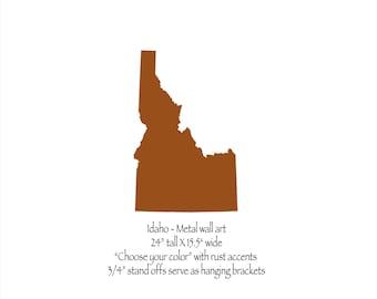 "Idaho metal wall art 24"" tall - ID wall decor - choose your color - USA art state wall art - Idaho art - Boise Nampa Meridian Pocatello"