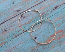 Gold Hoops, Hammered Gold Hoop Earrings, Easy Breezy Style, Light Weight Hoops, 24K Gold