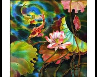 Acrylic Painting GICLEE Print Of Original Acrylic Painting SILK Painting Fine Art Print Koi Fish Painting Illustration
