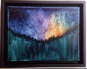 original watercolor, watercolour art, starry night art, landscape, galaxy, night sky, stars, aurora borealis, northern lights