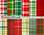Christmas Plaid Digital Paper Pack, Scrapbooking Papers, 12 jpg files 12 x 12 - Ins