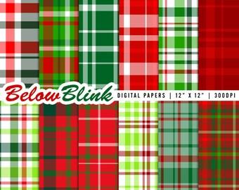 Christmas Plaid Digital Paper Pack, Scrapbooking Papers, 12 jpg files 12 x 12 - Instant Download - DP334