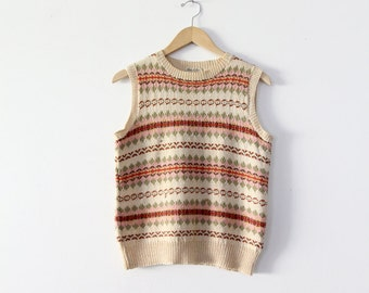 1980s hand knitted vest made in England