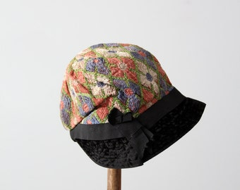 1920s flapper cloche hat, embroidered deco evening cap