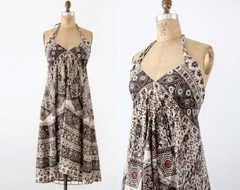 1970s halter dress,  boho print sundress