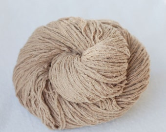 Pure Silk Yarn,Matte,Khaki.Beige,Light Brown, Fingering Weight, Upcycled, 250 yards