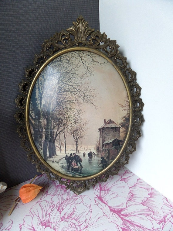 vintage oval domed glass brass picture frame 1920s