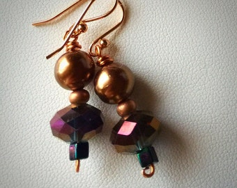 "Coppery Beaded Earrings - Bronze, Black, AB Crystal - 3/4"" Long - brown, gold, pink, green - Asian feel - copper - pearl"