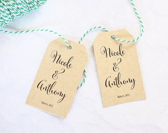 Calligraphy Name Tags, Custom Wedding Favor Tags, Wedding Welcome Gift Bag Tag, Thank You Tag, Personalized Tags - Set of 25 (LGGT-CAN)