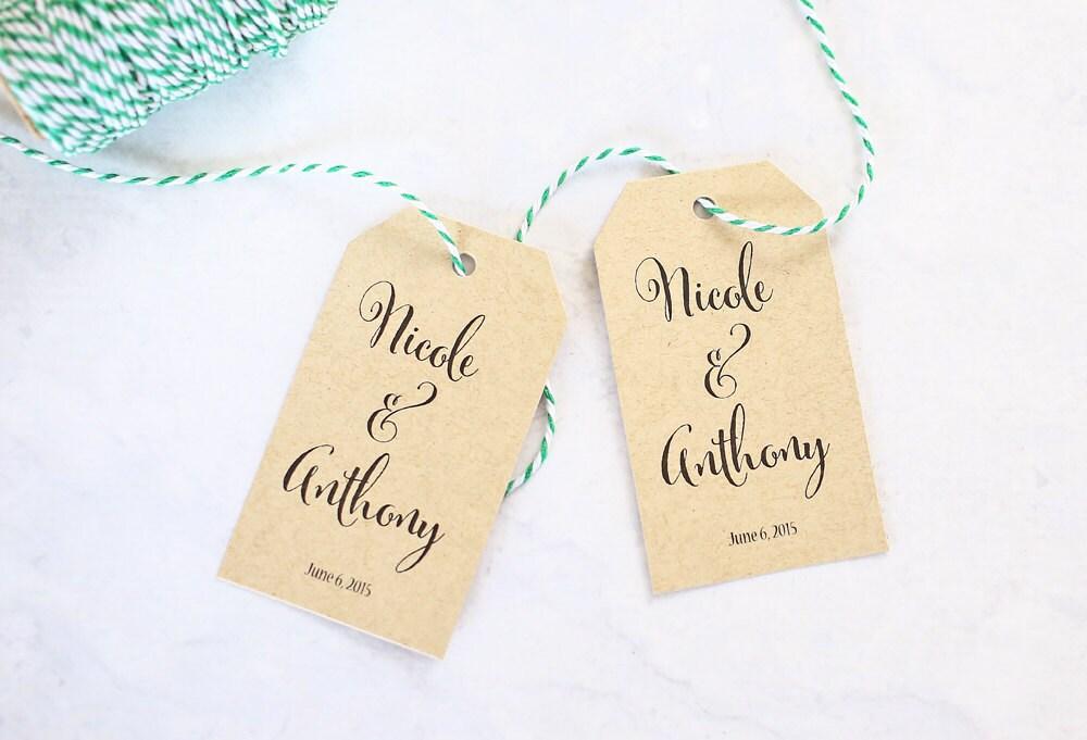 Wedding Gift Name Tags : Calligraphy Name Tags Custom Wedding Favor Tags Wedding