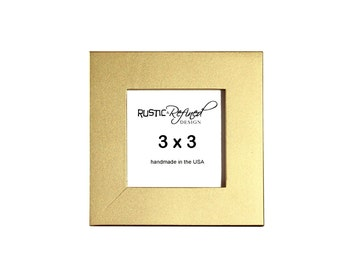 """3x3 1"""" Gallery Picture Frame - Gold - Free Shipping - Solid Wood - Hand Made in USA"""