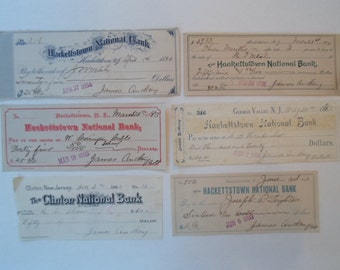 Vintage Antique SIX 1800s  Handwritten Cancelled Checks from  New Jersey Calligraphy