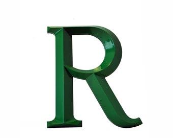 Vintage Letter R, 8 inch Emerald Green Sign Letter R