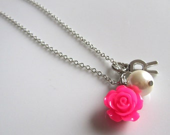 Pearl necklace with fuschia rose, flower girl necklace, bridal necklace, bridesmaids necklace