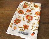 Vintage Hand Towel NOS Harvest Colors Orange Golden Yellow Linen Towel Housewarming Gift Vintage 1970s