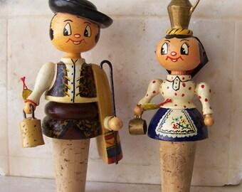 Vintage Bottle Stoppers Fanobri Folk Art Couple Bottle Stoppers Portugal Native Dress Lucky Mascot Vintage 1980s