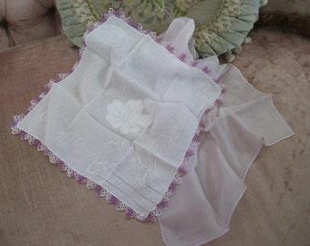 Vintage Hankie White Rose Applique Hand Tatted Purple Crochet Lace Trim