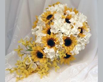 Sunflower Bouquet, Sunflower Cascading Bouquet, MADE TO ORDER, Sunflower and Hydrangeas Bouquet, Sunflower Wedding, Yellow and White Wedding