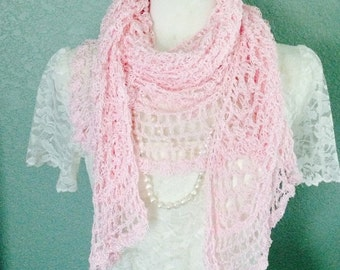 Lacey Frilly Pink Rose Hand Crochet Shawl-Wrap