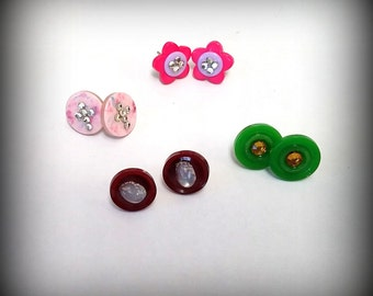 Vintage button post earrings
