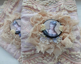 Marie Antoinette pink lace cuffs, portrait on wood, beaded, statement wear