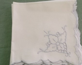 Vintage Napkins Off White Cotton with Blue Cutwork Floral Detail 8 Napkins