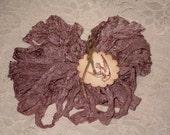 Scrunched Seam Binding ribbon, 10 Yards Tea Stained Seam Binding, Crinkled Tea Stained Antiqued Rose Seam Binding