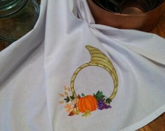 Embroidered Tea Towel Flour Sack Cornucopia Quiltsy Handmade