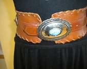 Vintage Wide  Leather Concho Hippie Belt