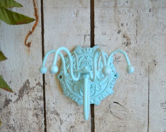 French Style Aqua Turquoise Jewelry Necklace Hanger Metal Spinning Swivel Wall mount Bedroom Bathroom